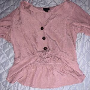 Pink Cropped Button Top